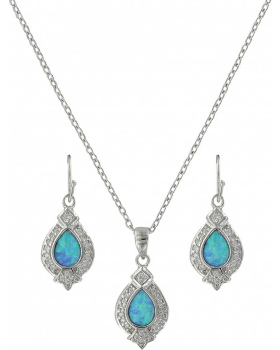 Montana Silversmiths Women's Royal Cluster Drop Jewelry Set, Silver, hi-res