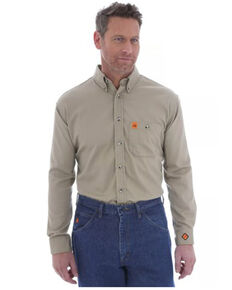 Wrangler FR Riggs Men's Solid Khaki Long Sleeve Button-Down Work Shirt , Beige/khaki, hi-res