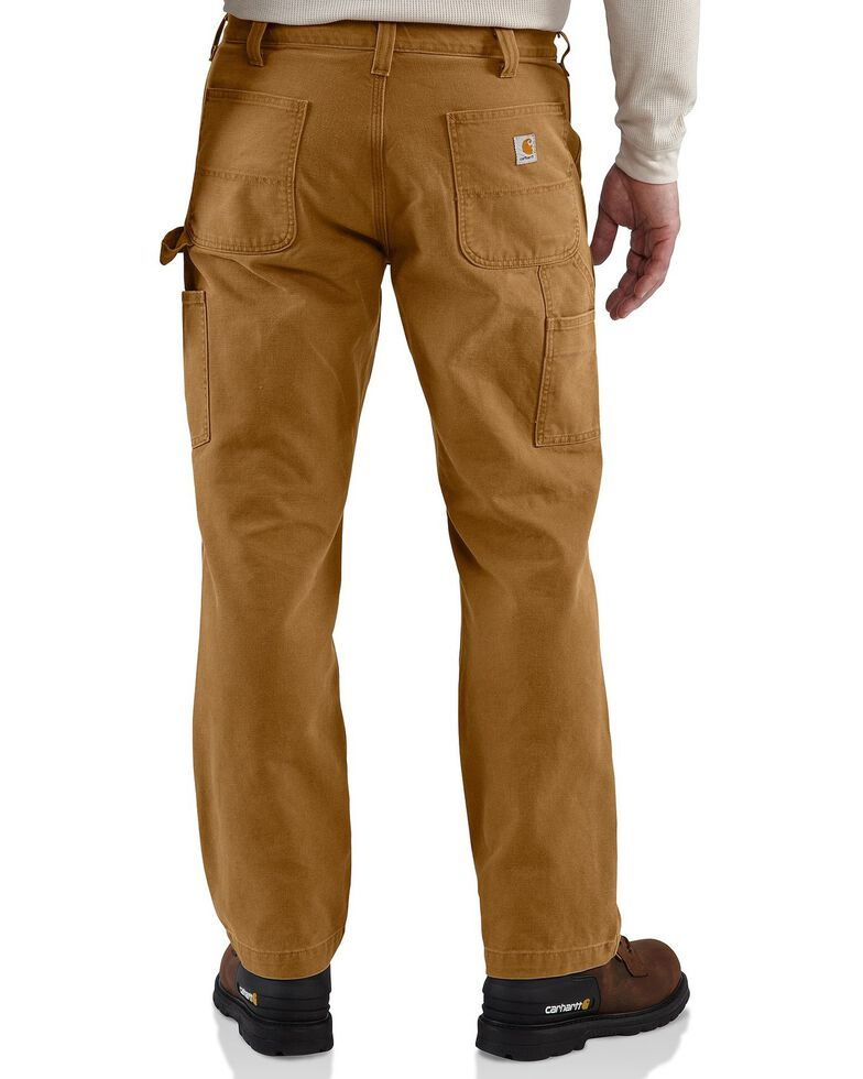 Carhartt Weathered Duck Double Front Dungaree Work Pants, Brown, hi-res