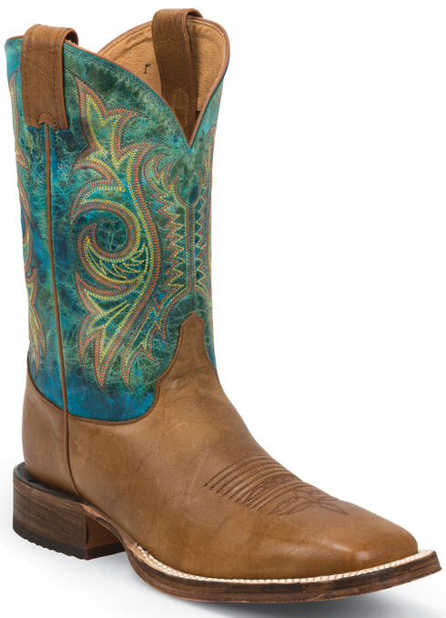 Justin Bent Rail Tan Mottle Cowboy Boots - Square Toe, Tan, hi-res