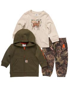 Carhartt Infant Kids' Camo T-Shirt & Front Zip Sweatshirt & Fleece Sweatpants Set , Multi, hi-res