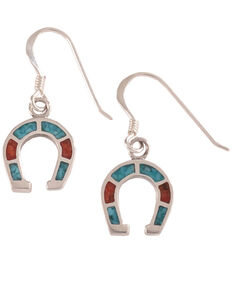 Silver Legends Women's Sterling Silver & Turquoise Horseshoe Earrings, Turquoise, hi-res