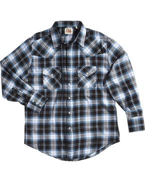 Ely Cattleman Men's Blue Western Flannel Shirt - Tall , Blue, hi-res