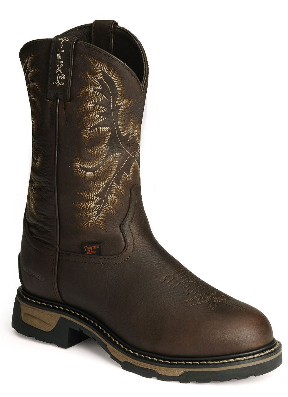 Tony Lama TLX Waterproof Pitstop Leather Work Boots - Steel Toe, Briar, hi-res