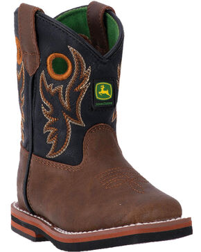 John Deere Toddler Boys' Orange Embroidery Boots - Square Toe , Black, hi-res