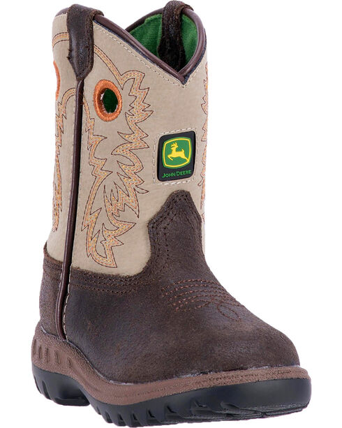 John Deere Toddler Boys' Classic Pull-On Western Boots - Round Toe , Brown, hi-res