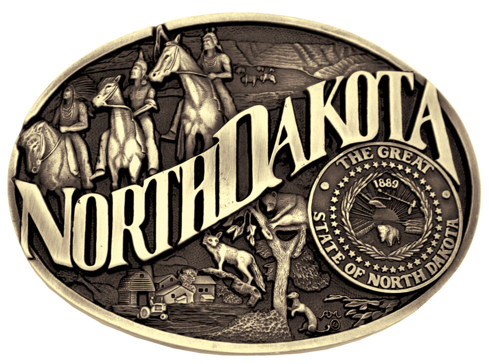 Montana Silversmiths North Dakota State Heritage Attitude Belt Buckle, Gold, hi-res