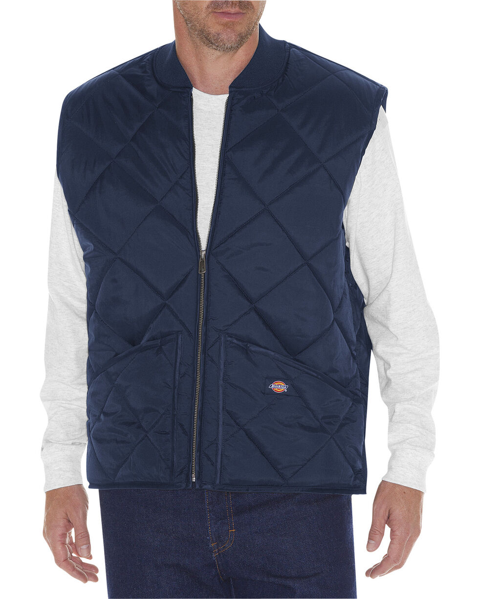 Dickies Diamond Quilted Nylon Work Vest, Navy, hi-res
