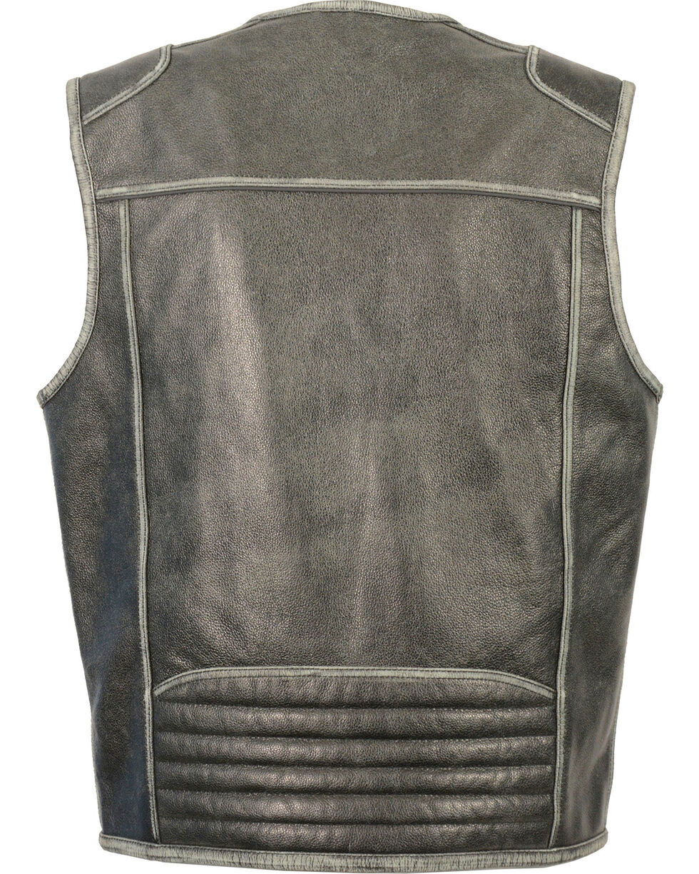 Milwaukee Leather Men's Vintage Distressed Zipper Front Vest, Grey, hi-res