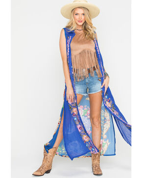 Aratta Women's Adonis Embroidered Duster, Blue, hi-res