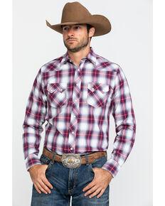 Wrangler Retro Men's Red Plaid Snap Long Sleeve Western Shirt , Red, hi-res