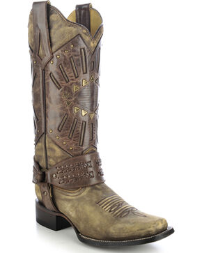 Corral Women's Mask & Harness Cowgirl Boots - Square Toe, Distressed, hi-res