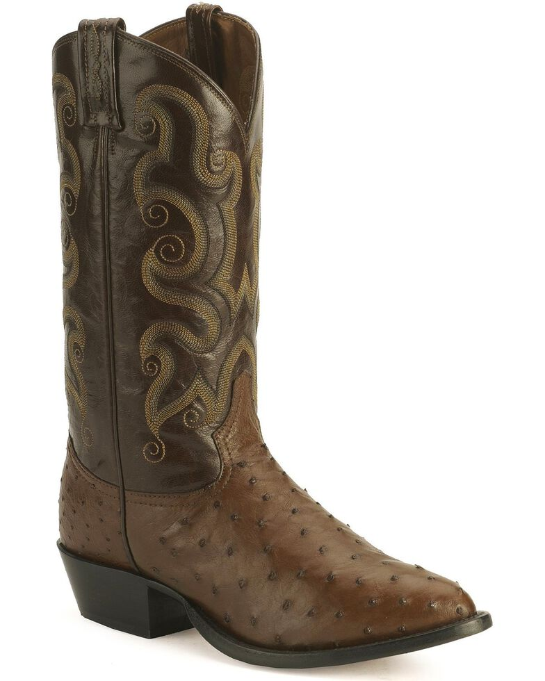 Tony Lama Full Quill Ostrich Western Boots - Medium Toe, Coffee, hi-res
