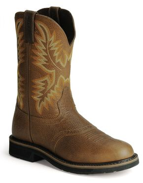 Justin Stampede Work Boots - Round Toe, Tan, hi-res