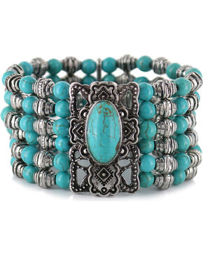 Shyanne Women's Beaded Turquoise Bracelet , Silver, hi-res