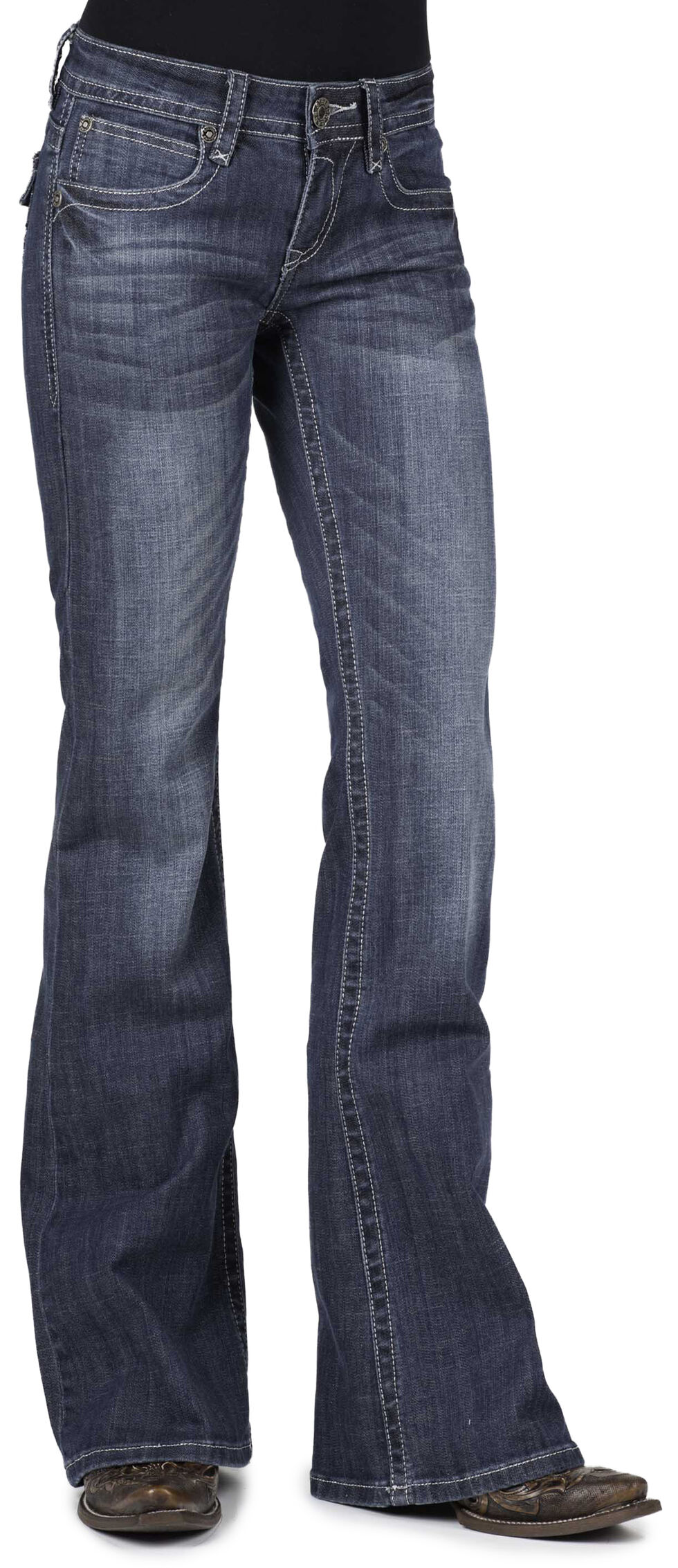 Stetson Women's 816 Classic Fit Flap V-Pocket Boot Cut Jeans, Denim, hi-res