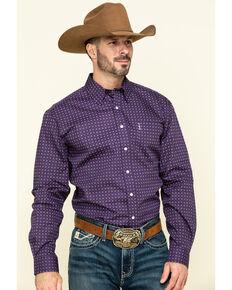 Cinch Men's Modern Fit Purple Geo Print Long Sleeve Western Shirt , Purple, hi-res