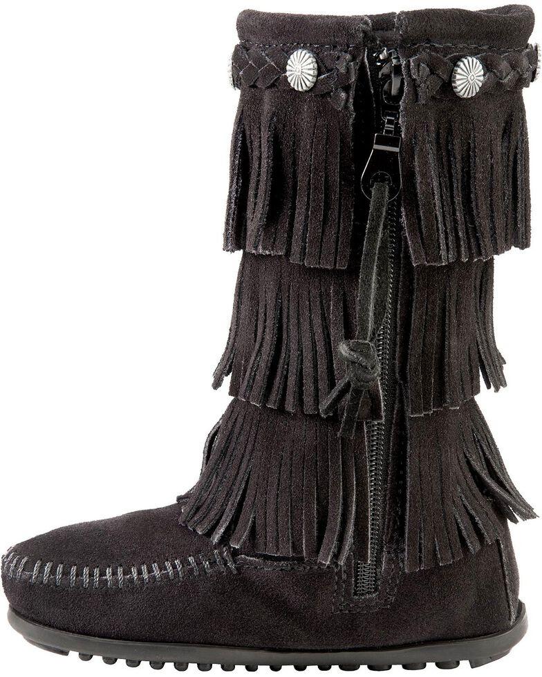 Minnetonka Girls' Fringed Suede Boots, Black, hi-res
