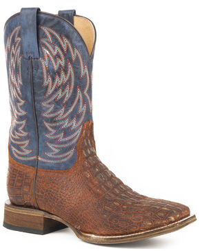 Roper Men's Lars Vintage Cognac Embossed Caiman Cowboy Boots - Square Toe, Brown, hi-res