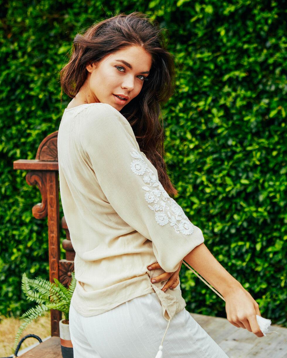 Sage The Label Women's Sand Valentina Floral Applique Blouse , Sand, hi-res