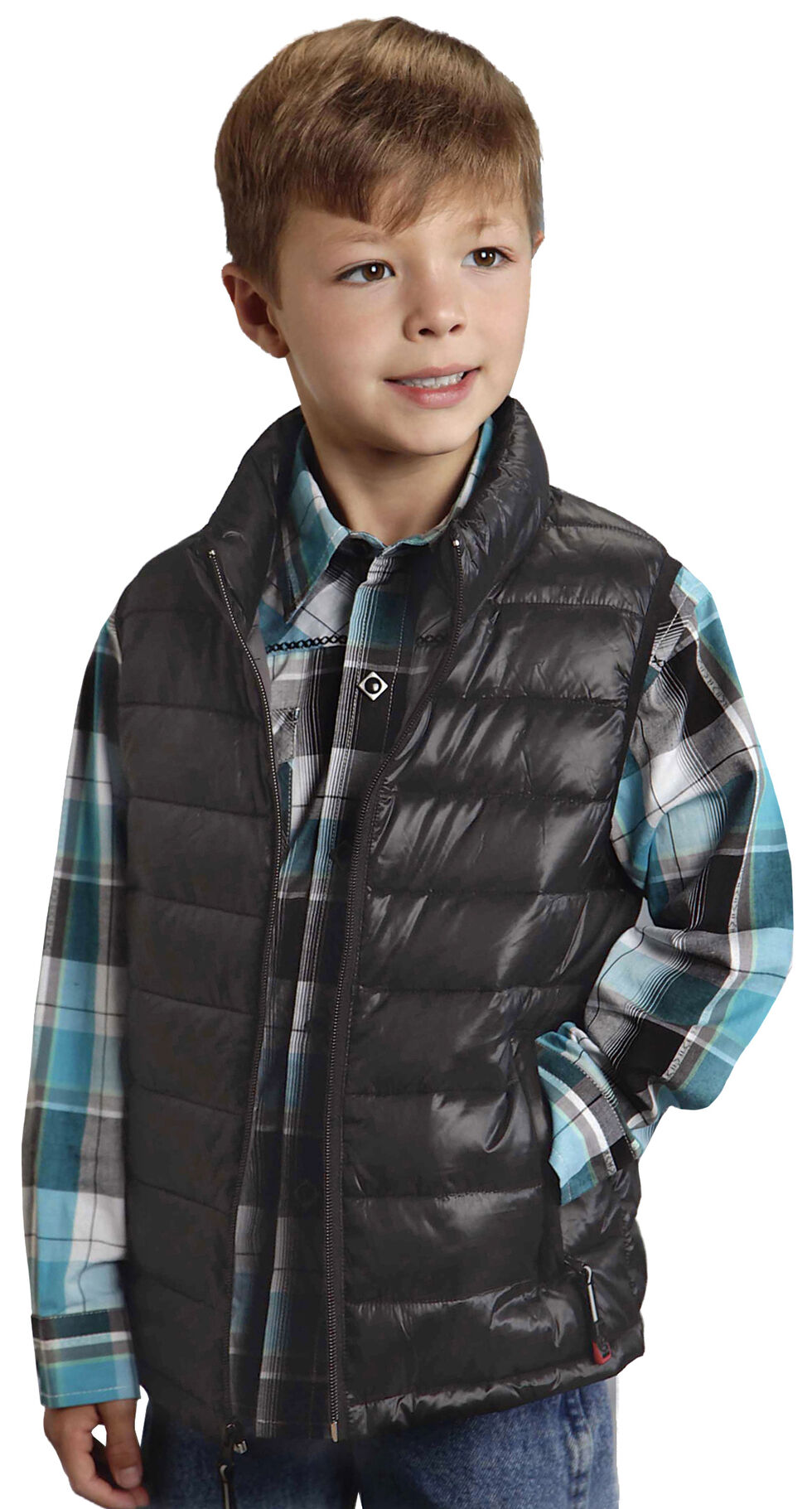 Roper Boy's Rangegear Crushable Black Vest, Black, hi-res