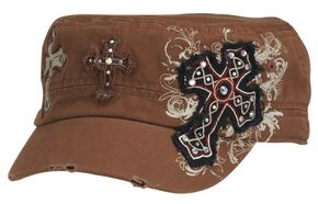Blazin Roxx Cross Embroidered Cap, Brown, hi-res