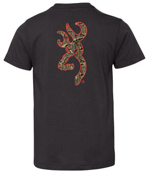Browning Boys' Mossy Oak Country Buckmark Short Sleeve Tee, Black, hi-res