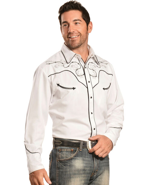 Scully Skull with Roses Embroidered Western Shirt, White, hi-res