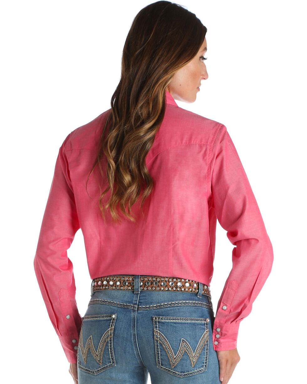 Wrangler Women's Pink Pearl Snap Top , Pink, hi-res