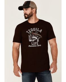 Moonshine Spirit Men's Burgundy Tequila Life Graphic Short Sleeve T-Shirt , Burgundy, hi-res