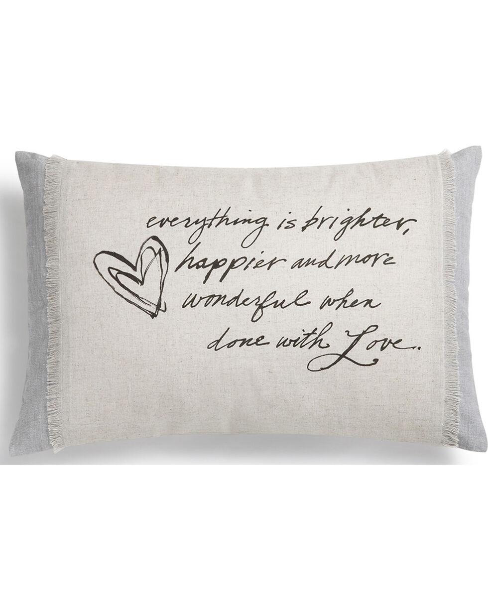Demdaco Grey Poetic Threads Love Throw Pillow , Grey, hi-res