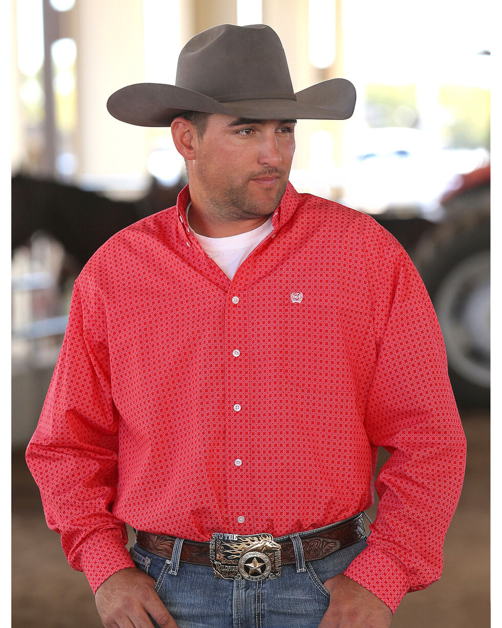 Cinch Men's Red Plain Weave Print Long Sleeve Button Down Shirt, Red, hi-res