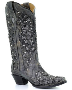 Corral Women's Grey Inlay Flower Embroidery Western Boots - Snip Toe, Black, hi-res