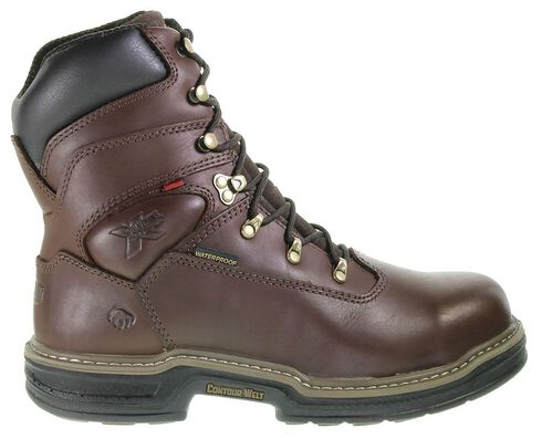 "Wolverine Buccaneer 8"" Waterproof Work Boots - Steel Toe, Dark Brown, hi-res"