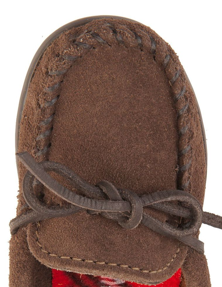 Minnetonka Boys' Moccasins, Chocolate, hi-res