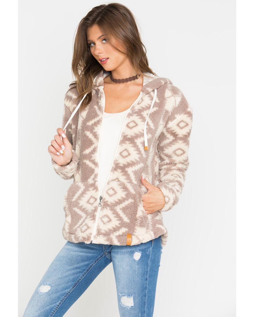 Shyanne Zip Sherpa Hoodie Aztec Design, Tan, hi-res