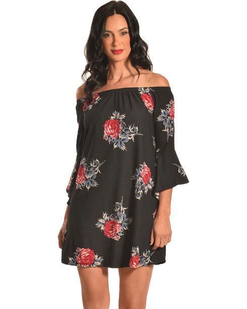 Derek Heart Women's Off The Shoulder Floral Print Trapeze Dress, , hi-res