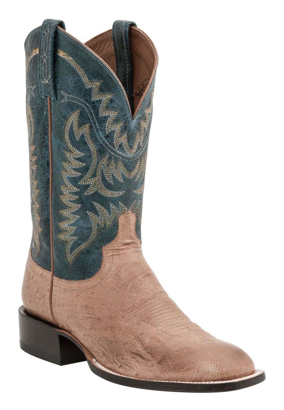 Lucchese Handcrafted 1883 Burt Smooth Ostrich Cowboy Boots - Square Toe, Tan, hi-res