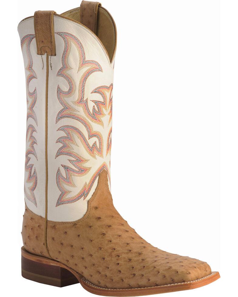 Justin Men's AQHA Full Quill Ostrich Cowboy Boots - Square Toe, Tan, hi-res