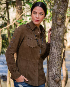 Ryan Michael Women's Embroidered Leather Shirt , Tan, hi-res
