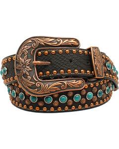 Nocona Women's Copper Nailhead Turquoise Belt, Black, hi-res