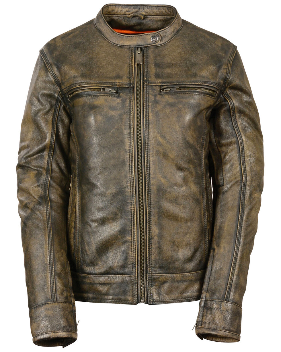 Milwaukee Leather Women's Brown Distressed Vented Scooter Jacket - 4X, , hi-res