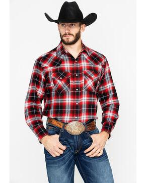 Ely Cattleman Men's 4.5 Oz.Plaid Long Sleeve Western Shirt - Tall , Red, hi-res