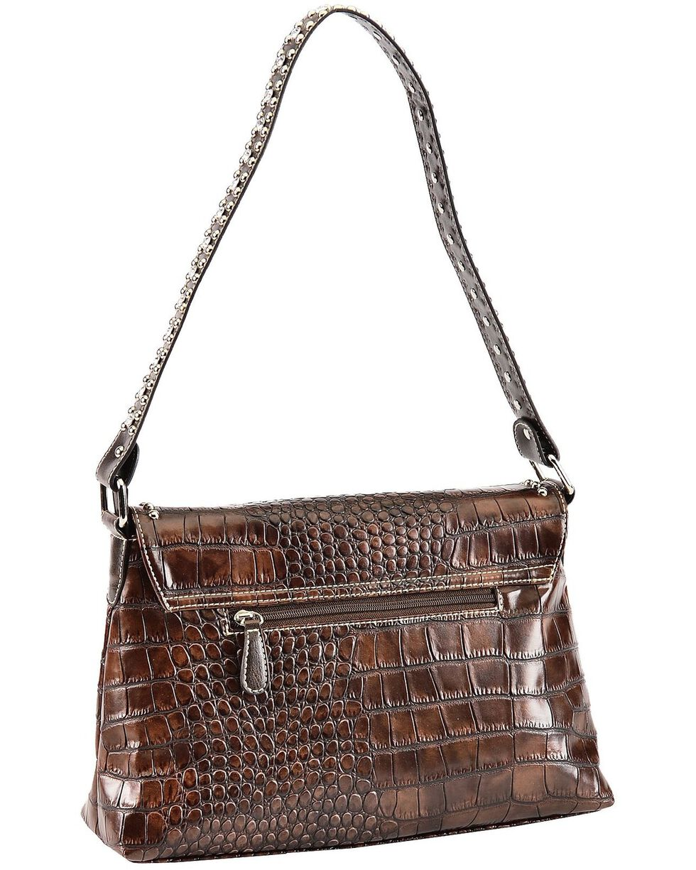 Blazin Roxx Three Cross Croc Print Shoulder Handbag, Brown, hi-res