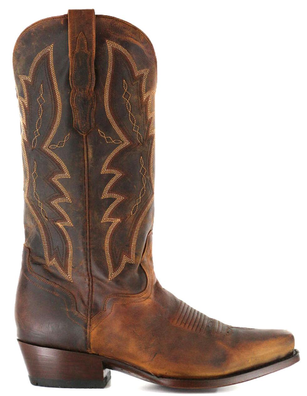 El Dorado Handmade Distressed Goat Cowboy Boots - Square Toe, Brown, hi-res