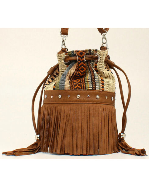 Blazin Roxx Women's Multi Fabric Fringe Bucket Bag, Brown, hi-res