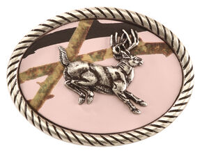 Nocona Girls' Oval Mossy Oak Jumping Buck Belt Buckle, Pink, hi-res
