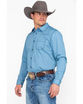 Gibson Trading Co. Men's Bronc Geo Print Long Sleeve Western Shirt , Blue, hi-res
