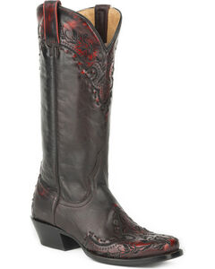 Roper Women's Black Mercie Western Boots - Square Toe , Black, hi-res