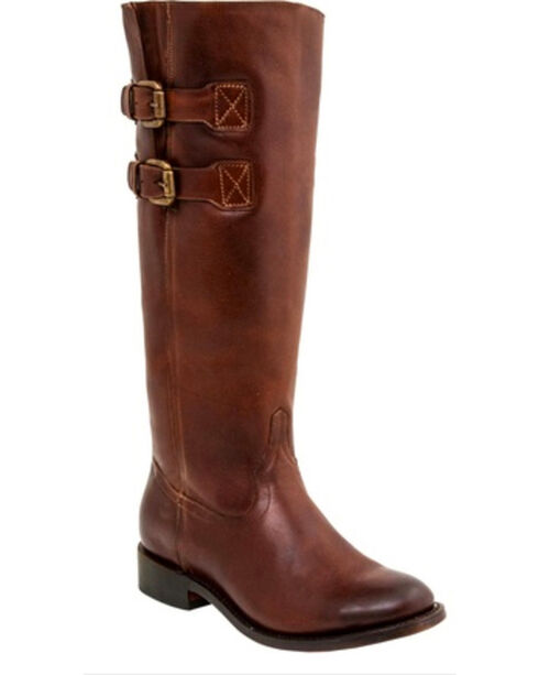 Lucchese Women's Handmade Paige Cowhide Riding Boots - Round Toe , Rust, hi-res